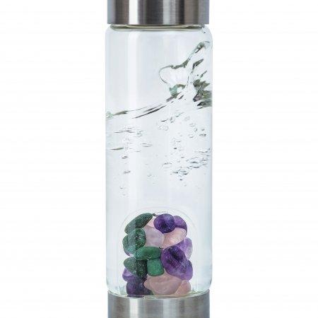 Edlesteinwasser für unterwegs mit dem VitaJuwel ViA Hautpflege, Edelsteine Amethyst, Aventurin und Rosenquarz